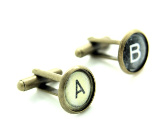 Cufflinks Typewriter Key Custom Personalised Initials Vintage Black White Gift