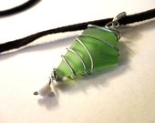 Sea Glass Necklace, Silver Wire Wrapped Pendant, Beach Glass Jewelry, Wire Wrapped Jewelry, Green Beach Glass Pendant