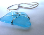 Sea Glass Necklace, Silver Wire Wrapped Pendant, Beach Glass Jewelry, Wire Wrapped Jewelry, Blue Sea Glass, Wire Swirl