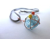 Glass Necklace, Copper and Silver Wire Wrapped Pendant, Glass Jewelry, Wire Wrapped Jewelry, Blue Glass Bead