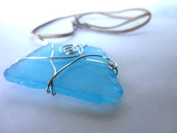 Sea Glass Necklace, Silver Wire Wrapped Pendant, Beach Glass Jewelry, Wire Wrapped Jewelry, Blue Sea Glass, Wire Swirl