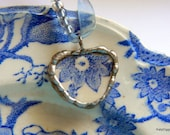 Broken china Pendant Solder framed with a sterling   Blue and White English Chippendale plate