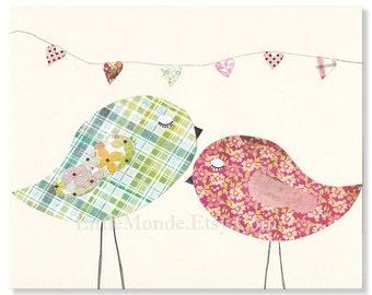 "NURSERY ART PRINT  Decor Personalized 8x10"" Nursery Print, Baby Girl Room Decor Little Birds, Sweet Love, Pink Pastels Animal Art"