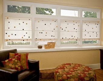 EcoRoman Cordless Window Shade, Natural w/ Bumblebee Dots