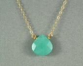 Beautiful Green Jade Heart Necklace, Natural Stone Bead, 14K Gold Filled Chain,  also in Sterling Silver