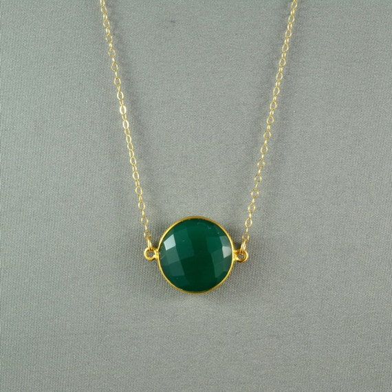 Beautiful Chalcedony Necklace, Kelly Green, 24K Gold Vermeil Bezel, 14K Gold Filled Chain, Wonderful Jewelry