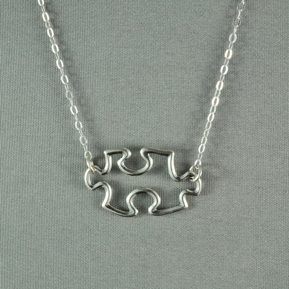 Jigsaw Puzzle Piece Necklace, 925 Sterling Silver, Modern, Simple, Delicate, Everyday Wear Necklace