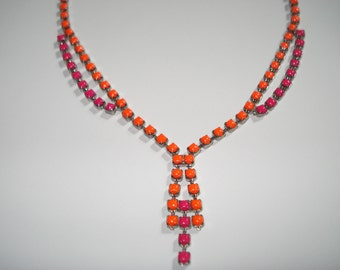 Pop-Of-Color Neon Orange & Neon Pink Hand Painted Vintage Rhinestone Necklace, 16 1/2 Inches