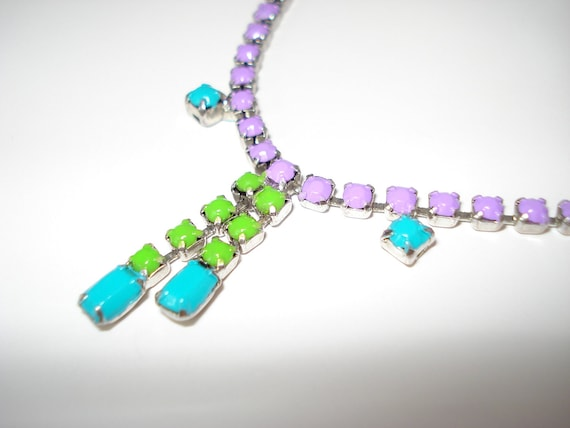 One-Of-A-Kind Purple, Neon Turquoise and Neon Green Hand Painted Vintage Rhinestone Necklace