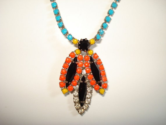 Amazon Goddess Tribal Inspired Multi Colored Hand Painted Vintage Rhinestone Necklace, 17 Inches