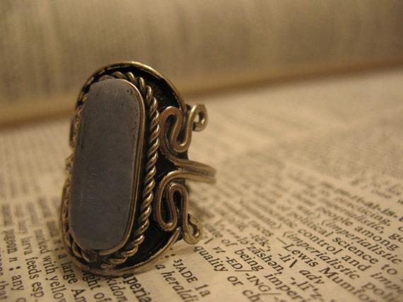 Alpaca Silver Ring w Semi-Precious Stone