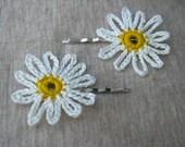 Crocheted White Daisy Hair Pin Set of 2