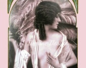 "Art Print of a digitally altered art of a Charming Woman 1910s.Art Nouveau decor, 81/4""x11"" inches.A4."