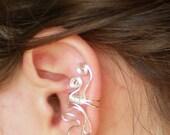 Ear Cuff Silver Wire Leaf Design, Medium