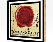 """Custom  Wedding Print on 3/4"""" Bamboo-RED with Ink Splatter Background"""