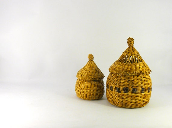 Vintage woven tiny boxes. rustic home decor
