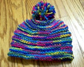 Baby Bee Hive Style Hat with Pom Pom