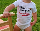 There's NO CRYING in BASEBALL Baby Bodysuits, Tees, Sports, Homerun, Infant, Newborn, Children, Baby Shower, Birthday Party Favor, Toddler