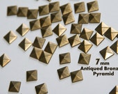 DIY Studs - 40 Bronze 7mm Flat Back Pyramid Studs - Iron On, Hot Fix, or Glue On - Pyramids for iPhone Case, Sunglasses or Crafts