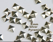 DIY Studs 8mm - 40 ct  Silver Flat Back Pyramid Studs - Iron On, Hot Fix, or Glue On - Pyramids for iPhone Case, Sunglasses or Crafts