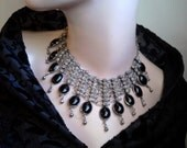 Black Cabochon and Silver Necklace