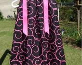 Black with Hot Pink Large Swirls boutique Pillowcase Dress size 3 months thru 6/7 :PC002