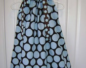 Brown with Teal Dots boutique Pillowcase Dress size 3 months thru 6/7 :PC003