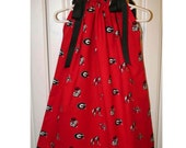 Featuring Georgia Bulldog Red Scattered Pattern Pillowcase Dress :TD015