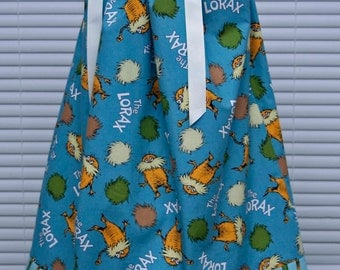 A boutique pillowcase dress featuring Dr. Seuss the Lorax Slate Blue :DS001-1 SIZE 4T Ready to ship