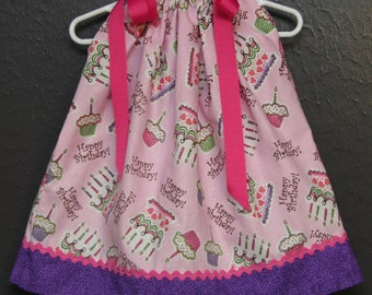 Happy Birthday on Pink  boutique  Pillowcase Dress -only 1 each-12 months and 18/24 months