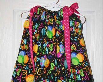 Happy Birthday Ballons  Boutique Pillowcase Dress :PC010