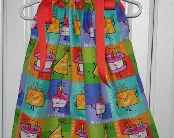 Happy Birthday Ballons & Streamers Boutique Pillowcase Dress  :PC011