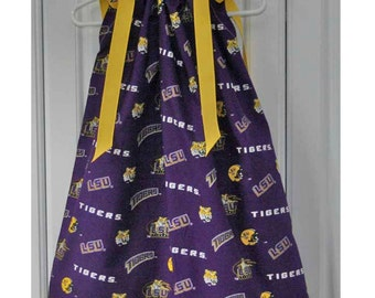 Featuring LSU Tigers Scattered Pattern Pillowcase Dress :TD021