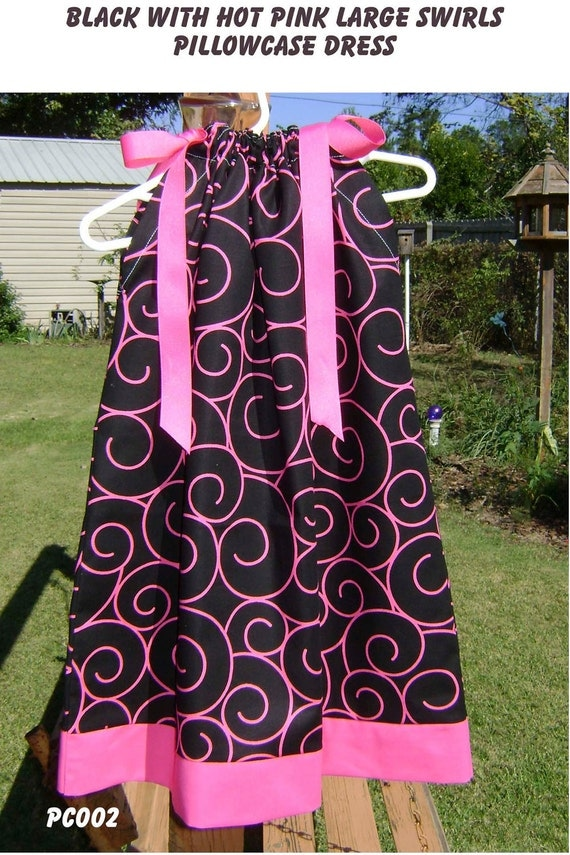 Black with Hot Pink Large Swirls boutique Pillowcase Dress size 4 or 5 only :PC002