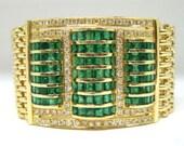 Estate 7ct Emerald & 3ct Diamond Bracelet in Solid 18k Gold - Reserved for OrSilver