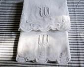 """Set of Two Vintage Trousseau Linen Guest Towels  - """" W"""" Monogram"""