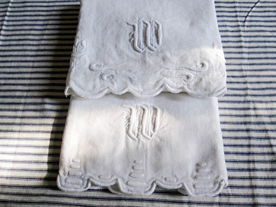 "Set of Two Vintage Trousseau Linen Guest Towels  - "" W"" Monogram"