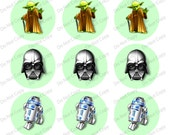"Star Wars - Green 1"" 4x6 bottle cap images - 1 inch rounds graphics for scrapbooking, stickers, Digital Printable Bottle Cap Images File"