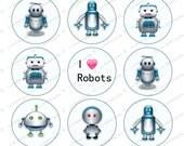 "I love Robots 1"" bottle cap images 4x6"" -1 inch rounds graphics for scrapbooking, Digital Printable Bottle Cap Images File"
