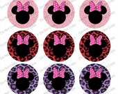 "Pink MINNIE Mouse Head Leopard 1"" 4x6 bottle cap images - 1 inch rounds graphics for scrapbooking, Digital Printable Bottle Cap Images File"