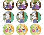 """Max and Ruby 1"""" bottle cap images 4x6""""  - 1 inch rounds graphics for scrapbooking, stickers, Digital Printable Bottle Cap Images File"""