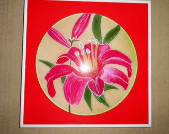 """One of kind hand painted silk, pink lilies. Frame size is 12""""x12""""."""