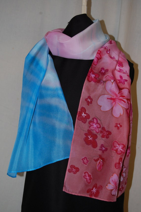 Hand painted art. Large silk scarf. Pink, bengal pink flowers with blue and white colors