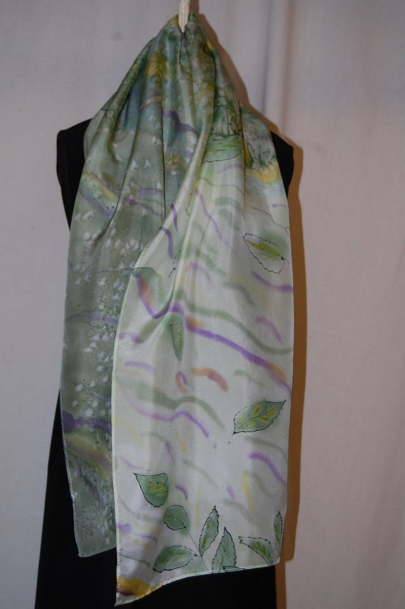 Hand painted silk scarf. Green tree leaves with olive, yellow, plum colors with salt/water affect.