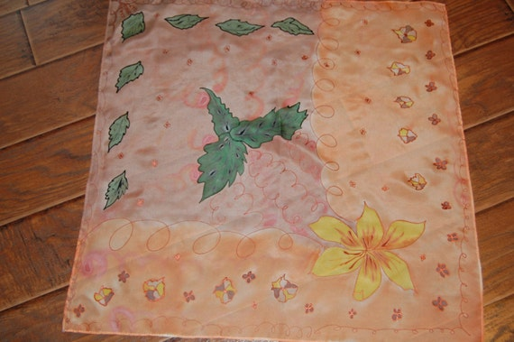 Hand Painted silk square scarf.Abstract yellow flower with green leaves on brown, orange background and copper contur.