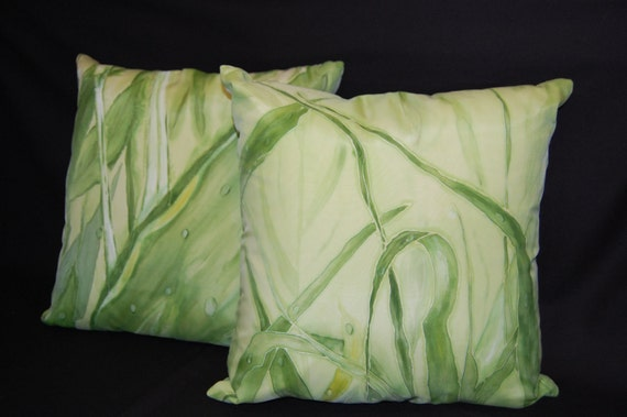 """Hand painted two silk pillow covers, gree grass, rain, dew. 18""""x18"""" size.Price for two is 180.00."""