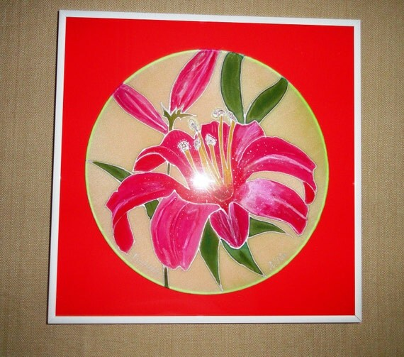 "One of kind hand painted silk, pink lilies. Frame size is 12""x12""."