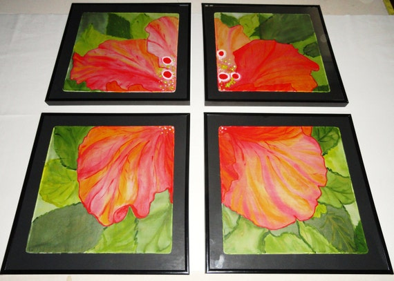 """Hand painted set of 4 Original silk art pieces. One of kind. Red hibiscus. The size of each frame is 12""""x12""""."""