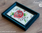 One Love Original Framed Watercolor Tattoo Flash Painting