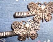 On SALE Fabulous Vintage Filigree Butterfly claw style hair clips